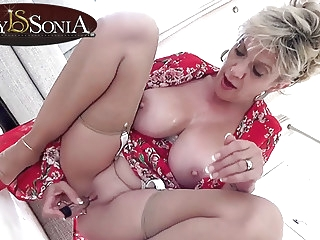 blonde mature Lady Sonia gets off with her new vibrator