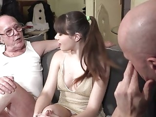 blowjob brunette Grandpa watches granddaughter fucking