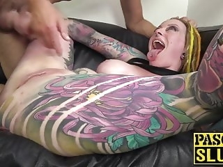 anal babe Busty and inked Piggy Mouth fucked anal before cum in mouth